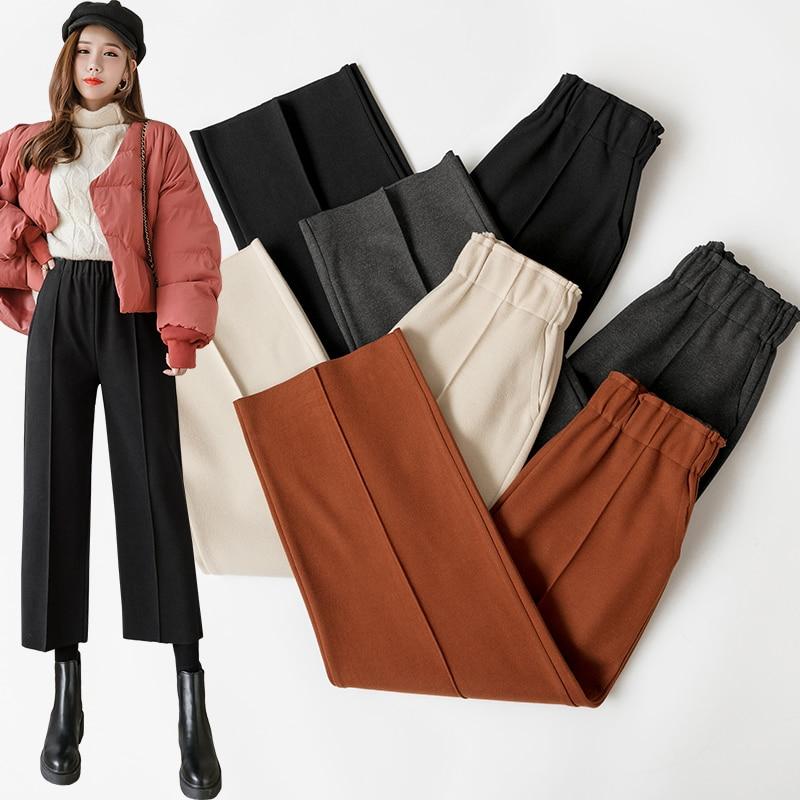 Eelastic High Waist Casual Woolen Pants Women Plus Size Casual Trousers Black Gray Wide Leg Pants Winter Wool Ankle-Length Pants