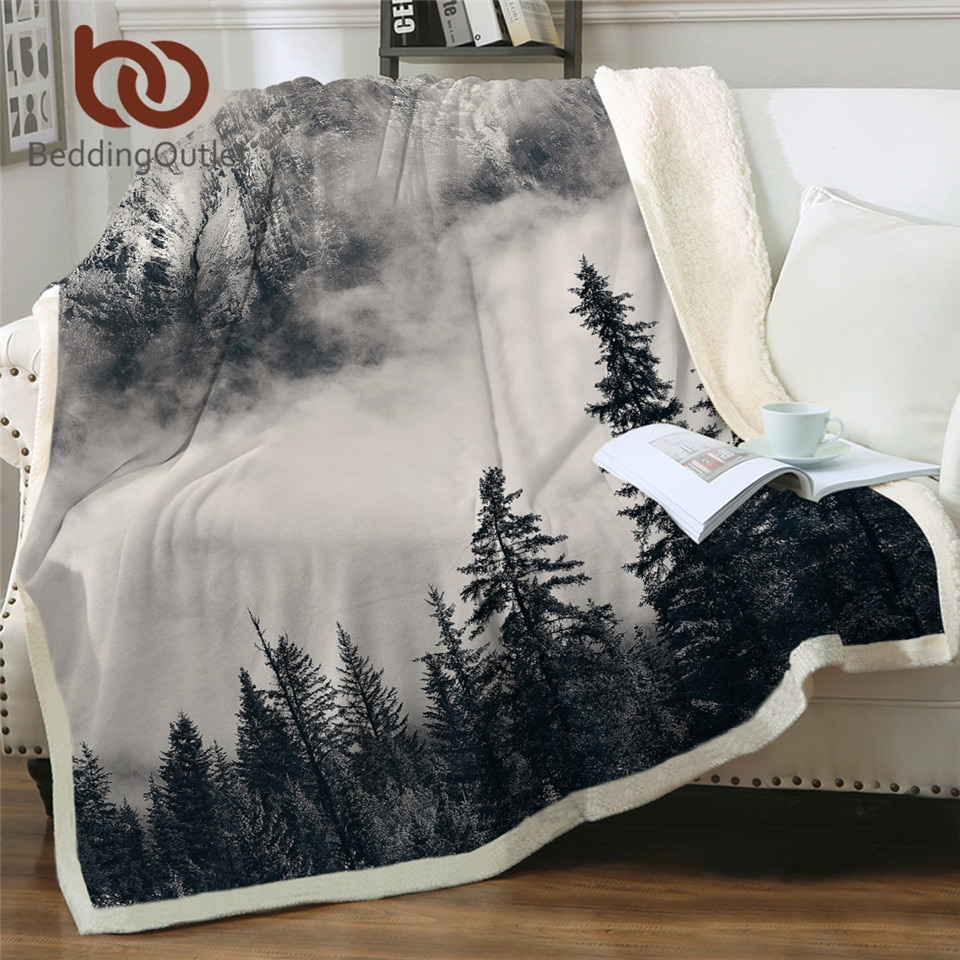 BeddingOutlet-بطانية غابة ، فوهات جبلية شيربا ، للسرير ، أغطية سرير قطيفة ناعمة ، مفرش سرير طبيعي رقيق