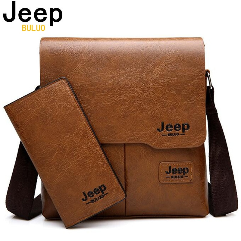 JEEP BULUO Man's Bag 2PC/Set Men Leather Messenger Shoulder Bags Business Crossbody Casual Bags Famo