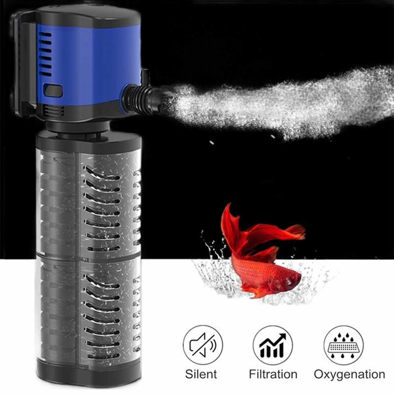 SUNSUN Multi-function 4 in 1 Internal Aquarium Sponge Filter for Fish Tank Submersible Water Pump Wave Maker Oxygen Air Pump