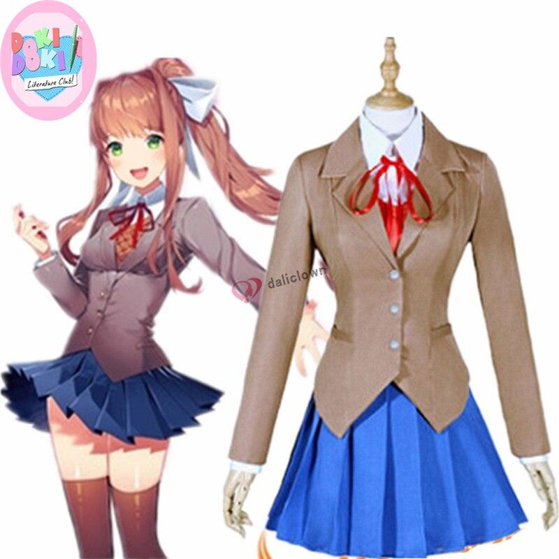 Doki doki literatura clube cosplay monika sayori yuri natsuki cosplay traje japonês uniforme escolar menina traje feminino jogo