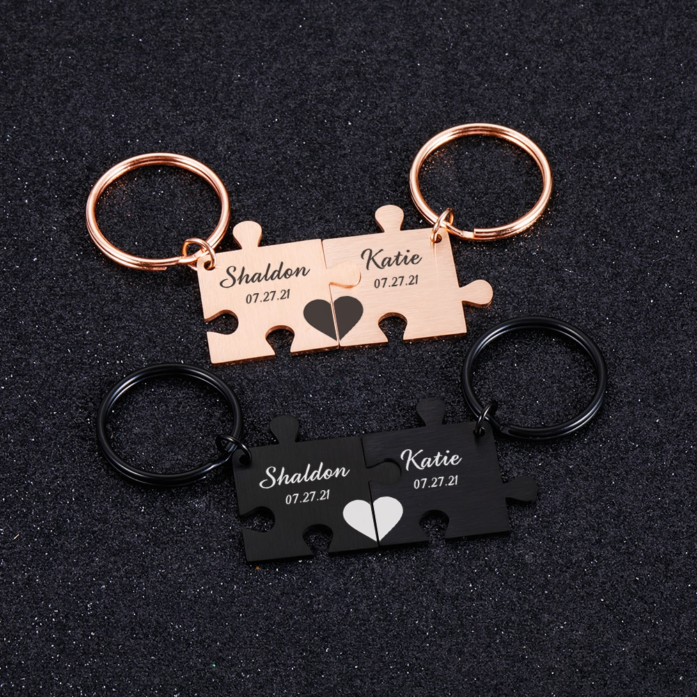 2PCS Personalized Keychain Customized Names and Date Valentines Day Anniversary Birthday Gifts for Boyfriend Girlfriend Lovers the lovers day gifts