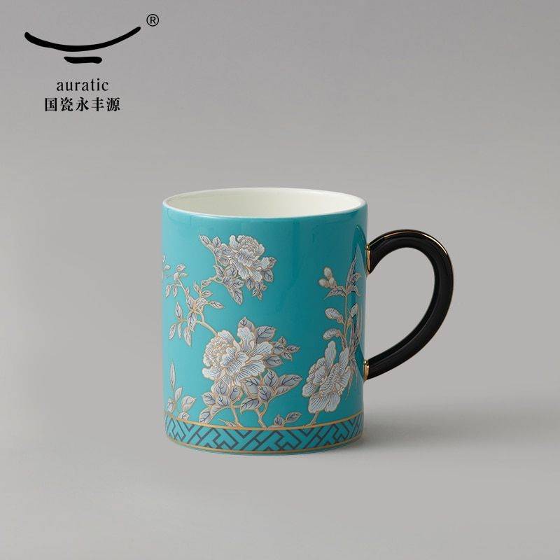 National porcelain yongfengyuan lady porcelain ink peony / 350ml coffee cup water cup household ceramic mug tea cup
