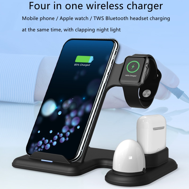 15W Qi Fast Wireless Charger Stand For iPhone Apple Watch 4 in 1 Charging Dock Station for Airpods P
