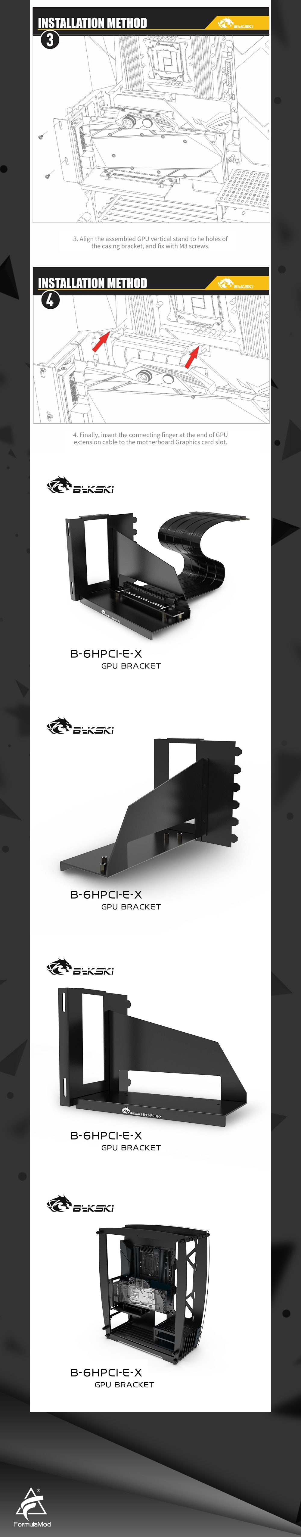 Bykski GPU Stand, Graphics Card Vertical Holder With PCI Express Extension Cable , Fixed GPU PCI-E Built-in Vertical Bracket, B-6HPCI-E-X