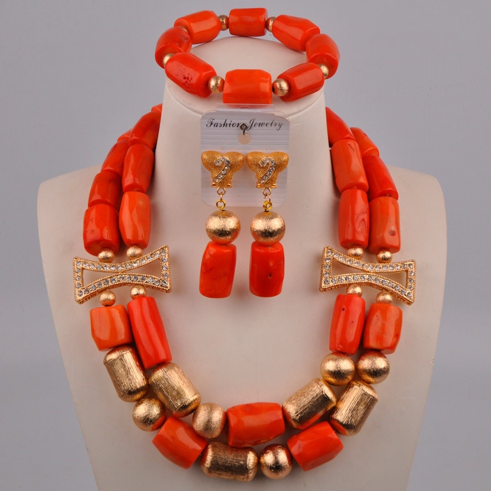 Orange Coral Beads Nigerian Wedding Coral Necklace African Jewelry Set 313-A01
