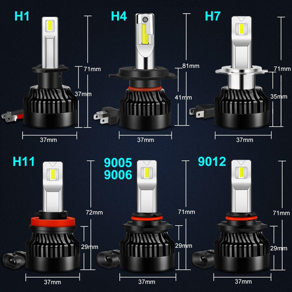Купить с кэшбэком 100W 25000Lm H1 H11 H7 LED Headlight Bulbs Canbus H4 LED H8 H9 9005 HB3 9006 HB4 9012 HIR2 Lamp Cars Running Lights 300% Bright