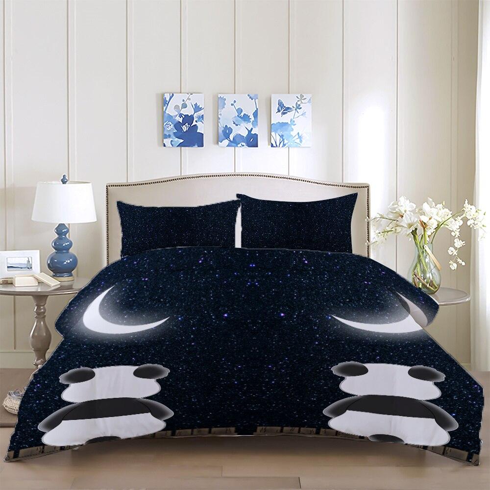 3d conjunto de capa edredão panda dos desenhos animados preto único duplo conjunto cama gêmeo rainha super rei roupa criança colcha capa fronha 3 pçs