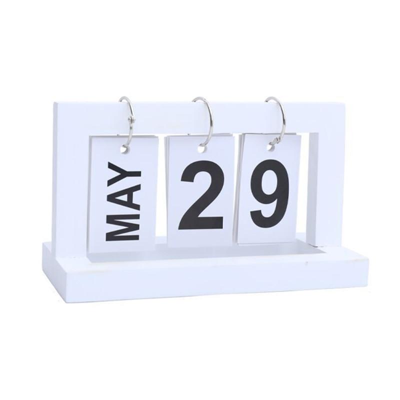 Daily Office Metal Flip Desk Calendar Perpetual Wood Vintage Calendar For Home