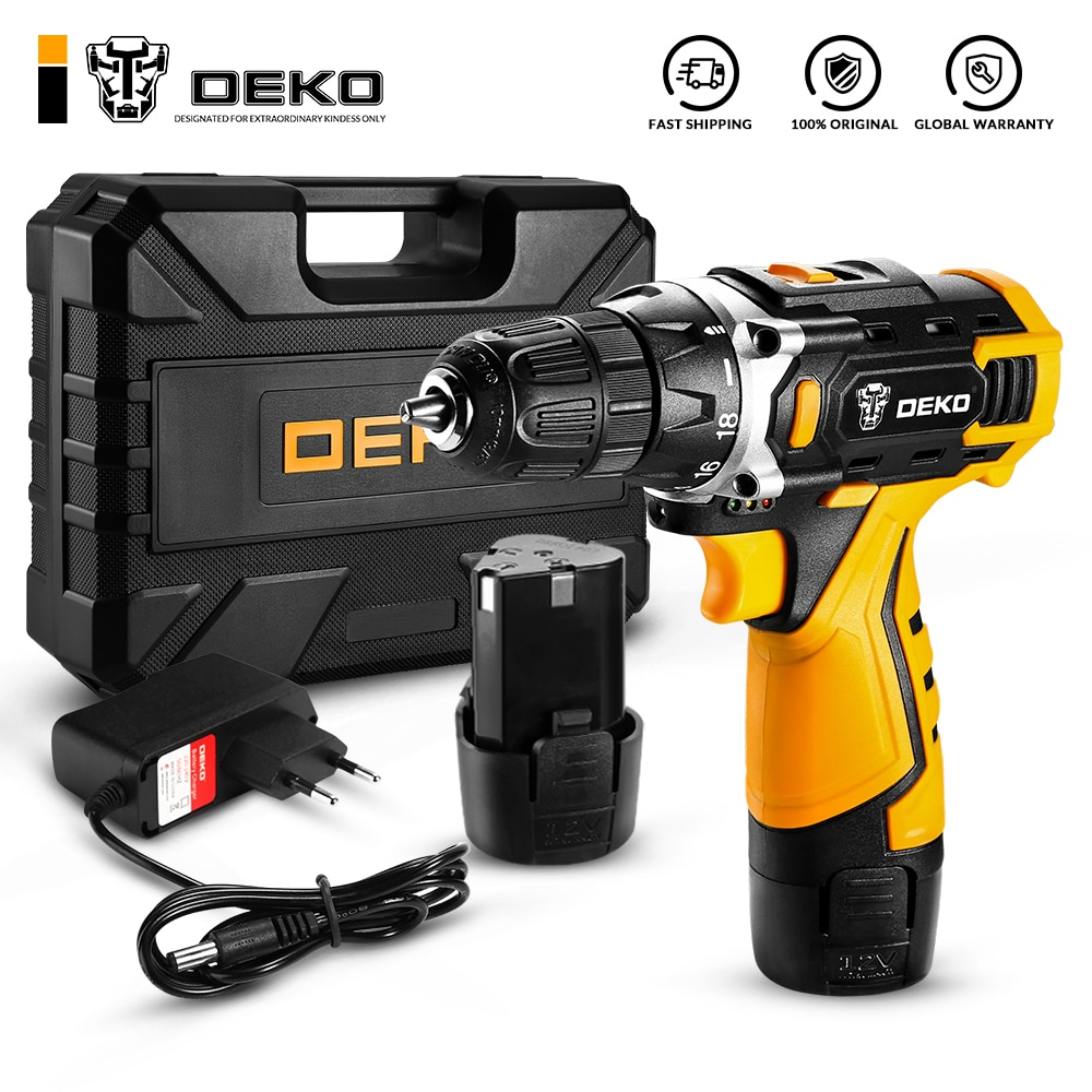 DEKO 12V Electric Cordless Drill Screwdriver with Mini Wireless DC Lithium-Ion Battery Power Tools(DKCD12FU-Li)