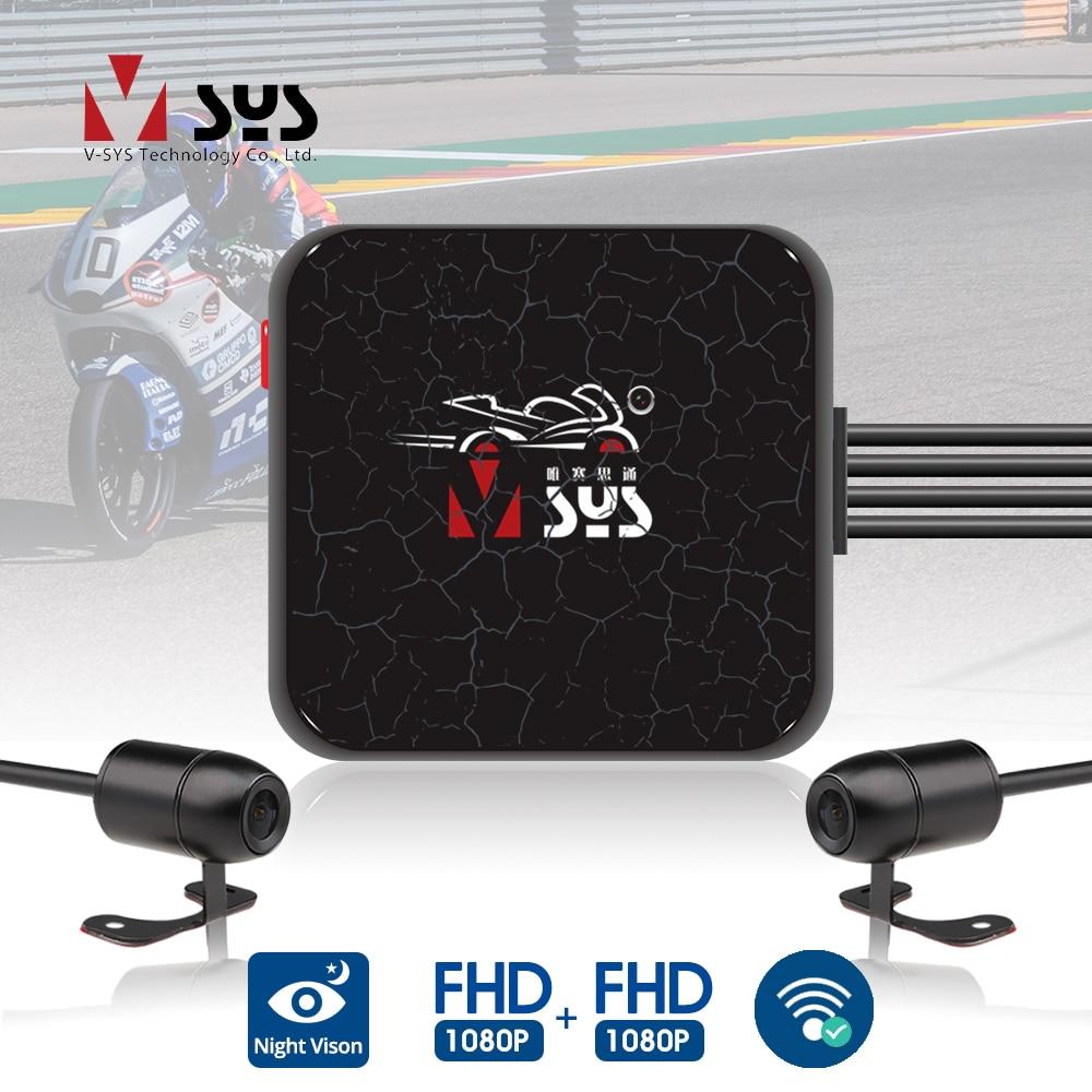 كاميرا تسجيل الفيديو SYS VSYS Dual Motorcycle DVR 1080P, كاميرا أكشن ، أمامية وخلفية ، مقاومة للماء ، كاميرا تابلوه الدراجة النارية ، صندوق رؤية ليلية أسود