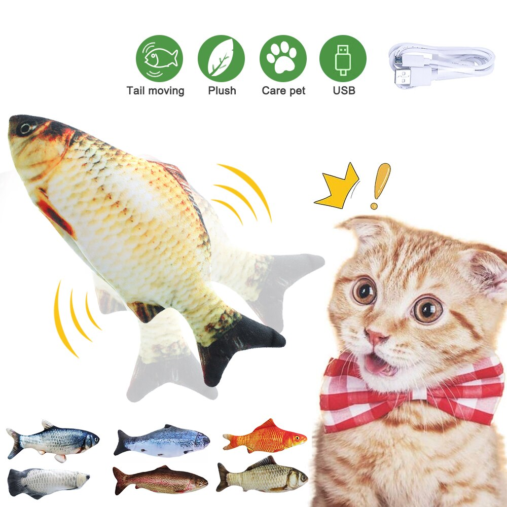 Moving Fish Cat Toy Electronic Flopping Cat Kicker Fish Toy Catnip Fish Toys for Cats Pet Supplies F