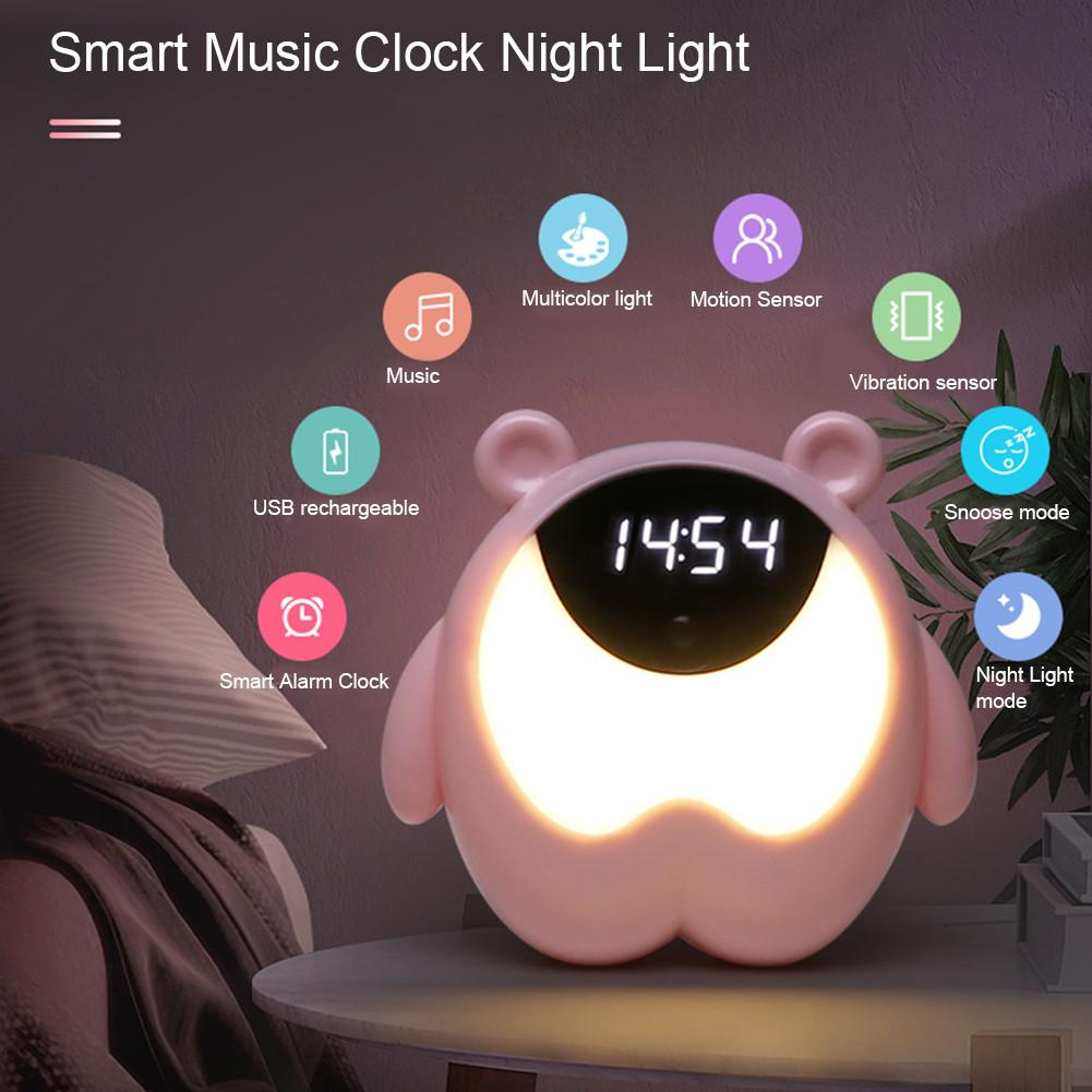 ins hot creative silicone alarm clock wake up chicken night light silicone bedside lamp kids room night light free shipping Cute Bear Alarm Clock Night Light RGB Wake Up Light With Music Children's Room Sensor Table Lamp Usb Desk Lamp Kid Gift