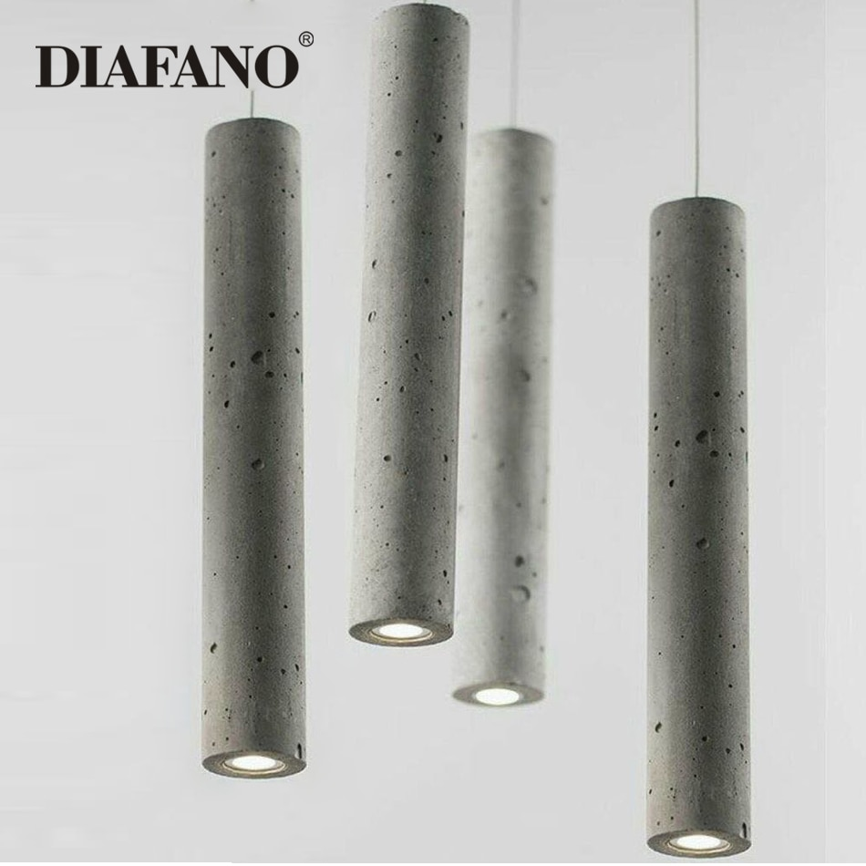 مصباح سقف Led معلق من الأسمنت على الطراز الاسكندنافي ، تصميم إبداعي ، إضاءة داخلية طويلة ، مثالي لغرفة النوم أو المطعم أو البار أو المقهى.