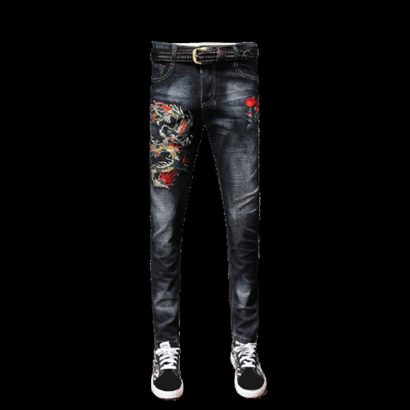 Мужские брюки, красивые джинсы для девочек, узкие Стрейчевые брюки с вышивкой и рисунком, роскошные мужские брюки