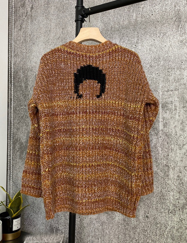 2020 Autumn Winter New Fashion Wool Alpaca Knit Pullover Women Vintage Casual Moon Print Sweater Knitwear enlarge