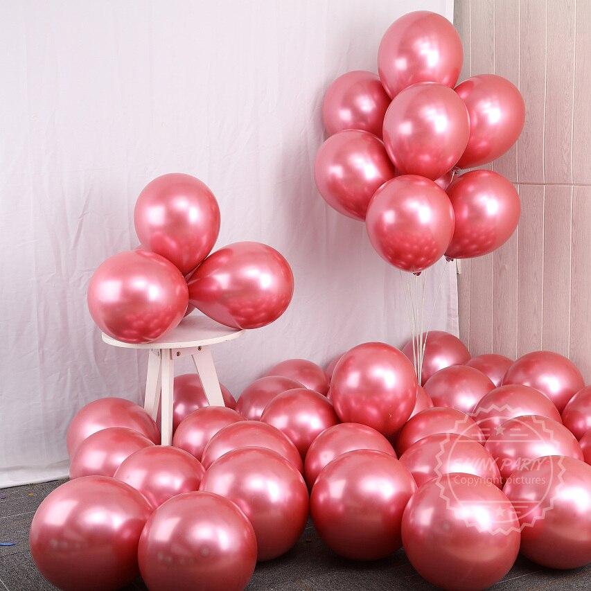 15 pçs ouro vermelho baloon cromo metálico balões brilhante látex globos noiva decoração festa de aniversário do casamento do chá de fraldas brinquedos do ano novo