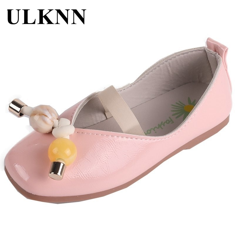 ULKNN Girls Single Shoes Children's Flats Elastic Band Kids Shoes Black Party Show Shoes Princess Sweet Soft Patent Leather