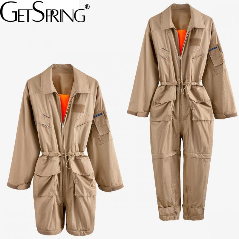 Getspring Women Jumpsuit Drawstring Hollow Out Casual Rompers Summer Womens Jumpsuit Irregular Vintage Khaki 2020 New