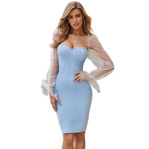 2020 Summer Lace Bandage Dress Women Vestidos Sexy Spaghetti Strap V Neck Bodycon Club Dress Elegant Celebrity Party Dress