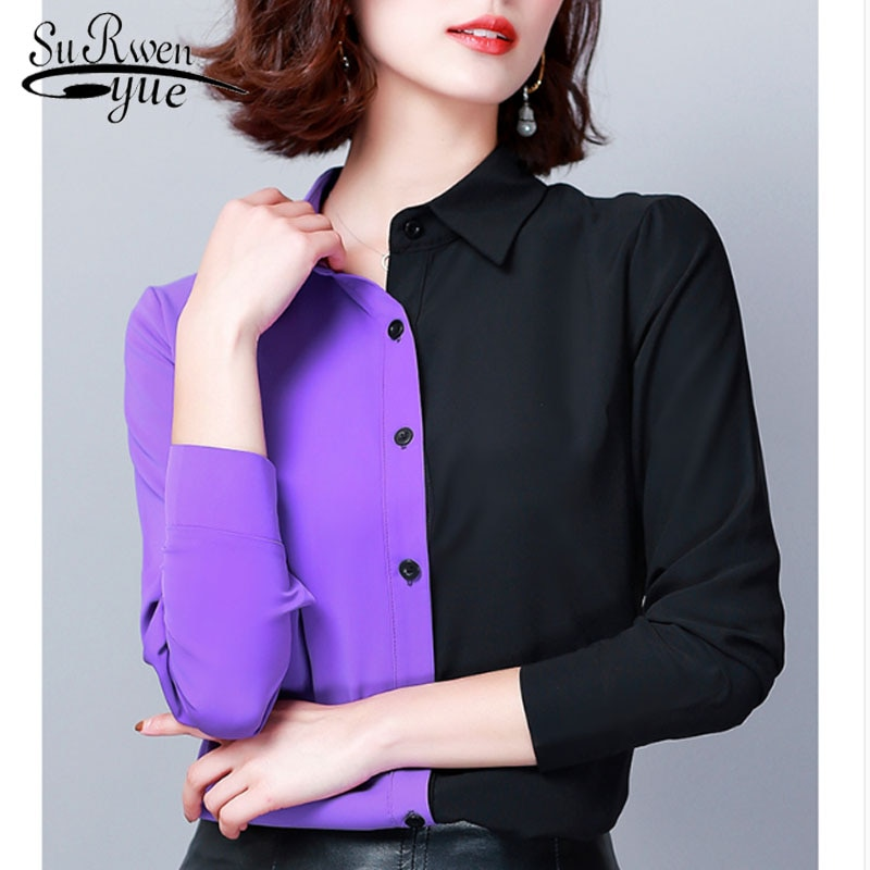 2019 Autumn Fashion Women Shirts Casual Spliced Women Clothing OL Plus Size Long Sleeve Leopard Women Blouses 6014 50