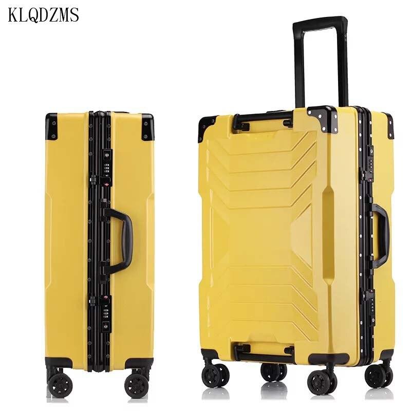 KLQDZMS женский модный Дорожный чемодан на колесах 20 дюймов 24 дюйма 26 дюймов 29 дюймов Мужской винтажный Спиннер чемодан на колесах деловой чемо...
