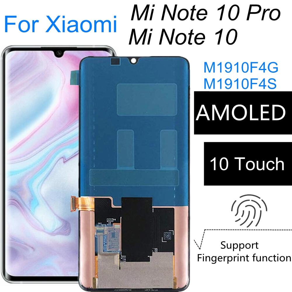 ل شاومي MI نوت 10 M1910F4G AMOLED LCD عرض تعمل باللمس الجمعية استبدال ل شاومي Mi نوت 10 برو M1910F4S LCD