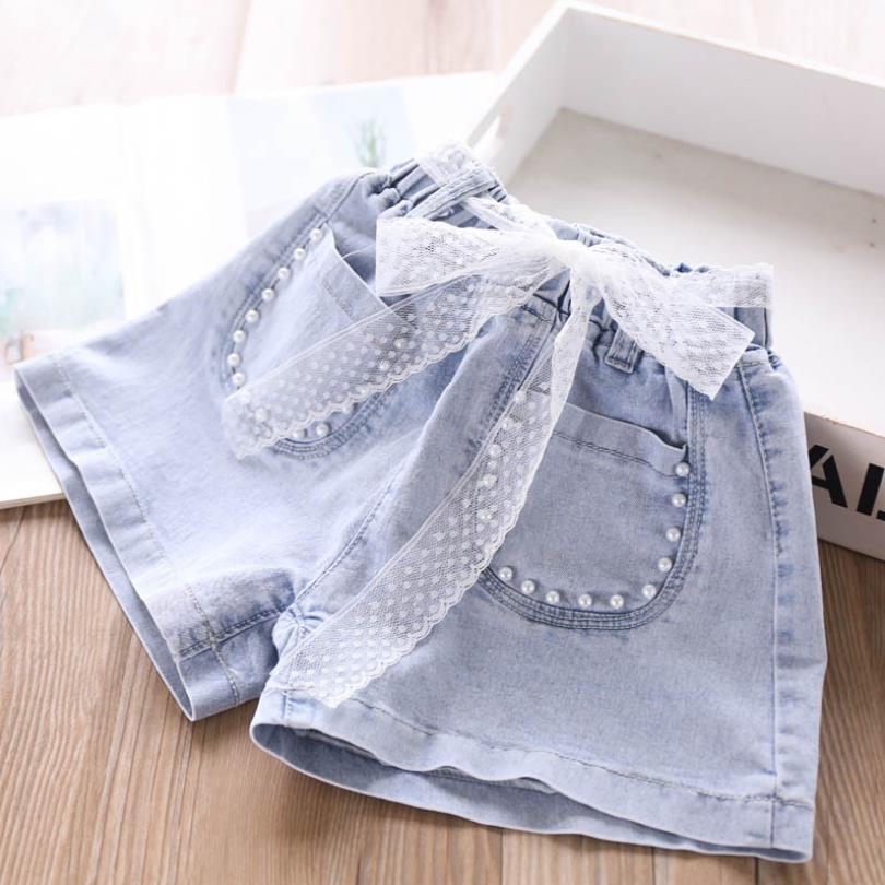 4T-12T Wholesale Children denim shorts 2020 summer new fashion sexy beading girls hot pants korean casual jeans shorts L236