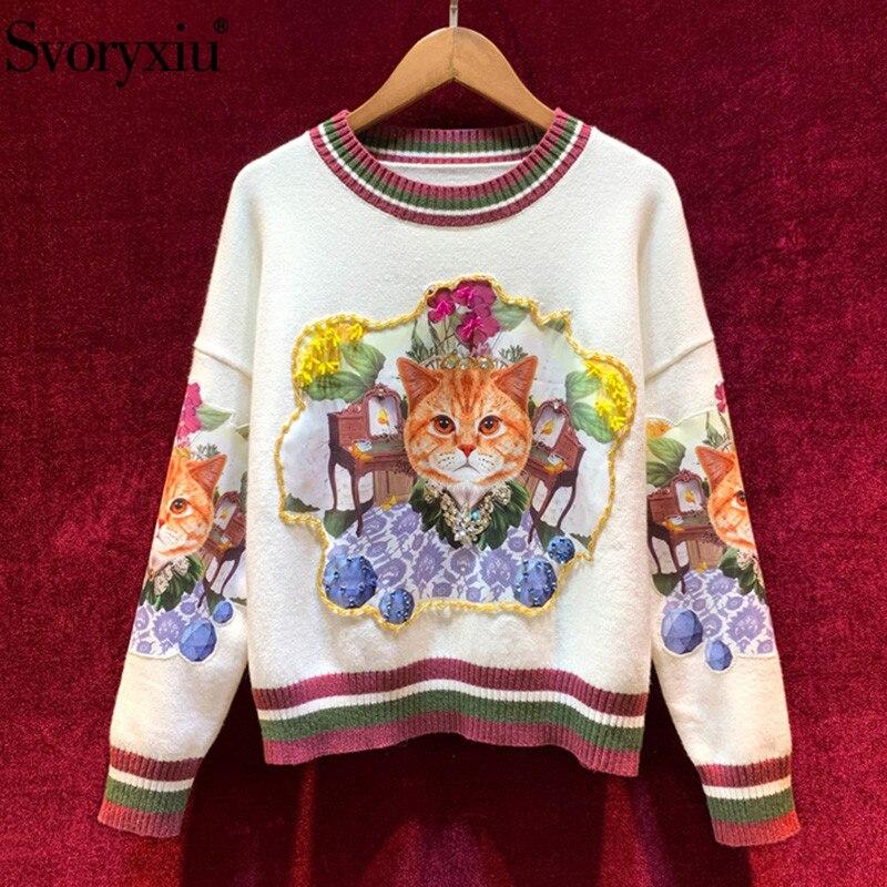 Svoryxiu Runway Fashion Herbst Winter Katze Applique Diamant Pullover Pullover frauen Langarm Casual Lose Stricken Pullover