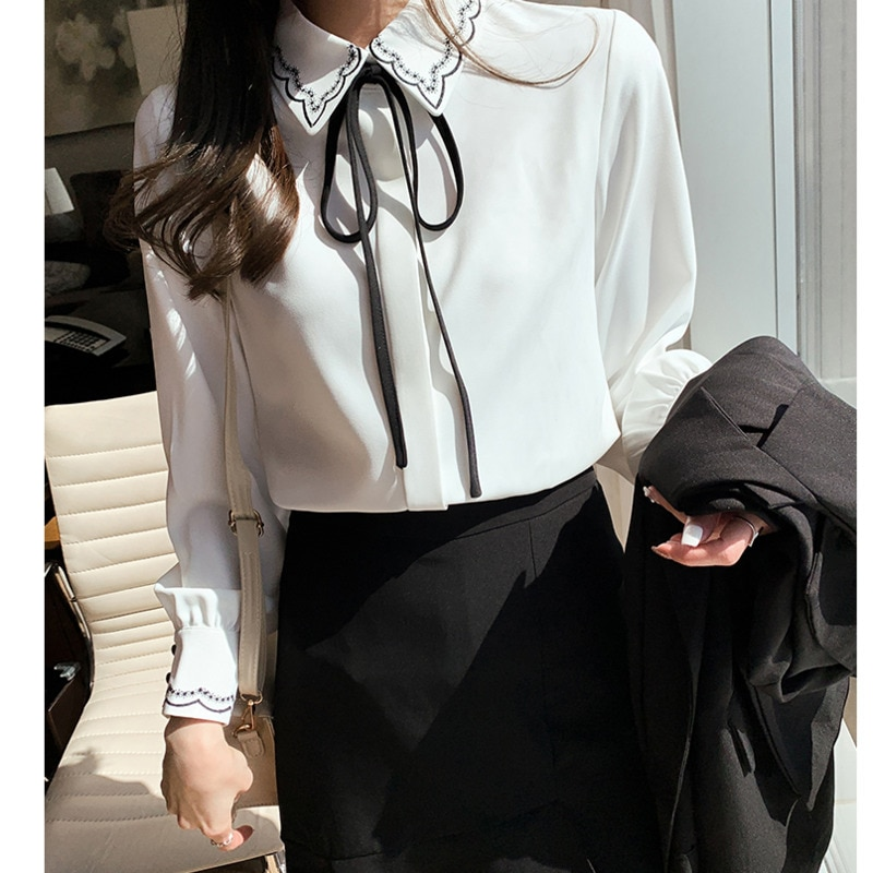 Womens Bow Ribbon Fashion Long Sleeve Shirt 2021 Spring New Ladylike Chiffon Tops Temperament Lapel Embroidered All-match