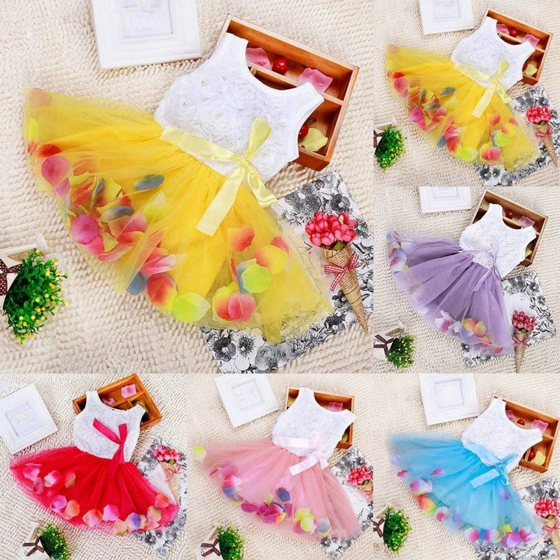 Princess Party Tutu Lace Bow Flower Dresses Skirt Clothes for Toddler Kid Girls dress baby girl dresses 0-4y princess dress western girl spring floral dress girl baby princess lace hollow collar fashion skirt dress kids dresses for girls knee length