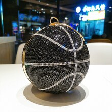 Rhinestone Basketball Football Evening Bag Women New Designer Creative Round Ball Clutch Dinner Purs