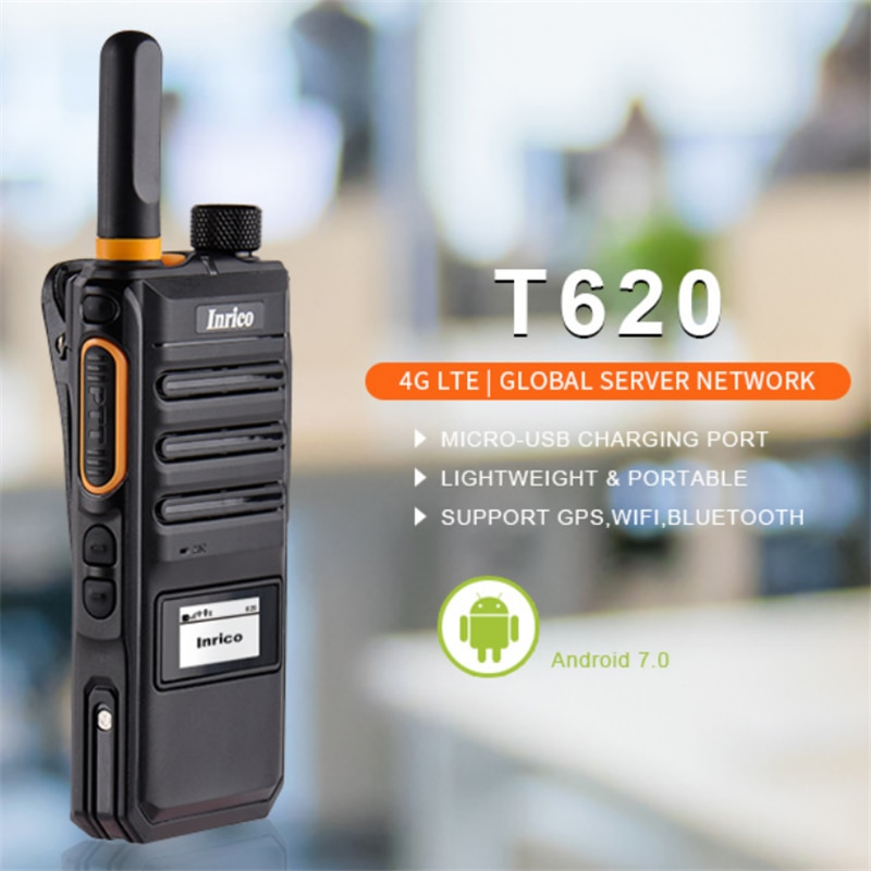 Inrico T620 Android Mini Walkie Talkie 100 Km GSM WCDMA 4G LTE Smart Mobile Phone Network Intercom Poc Radio with NFC GPS BT