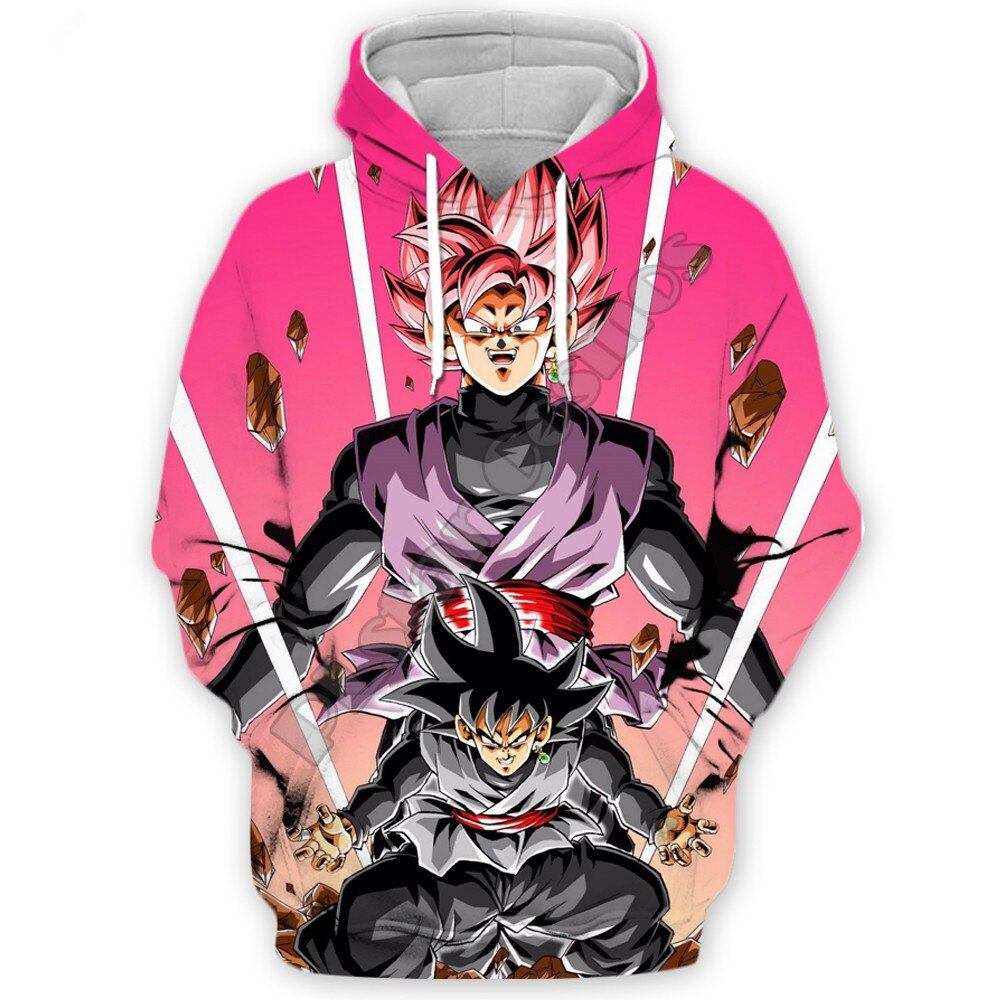 Sudaderas Liumaohua de moda para hombres, sudaderas con capucha de Anime Dragon Ball Z Dark Wukong, sudadera impresa en 3d, sudadera con cremallera, sudadera Casual Unisex con capucha Harajuku