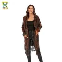 cgyy women spring autumn boho cardigan long open front maxi knit sweater aztec tribal tassel fringe vintage thin knitwear coat