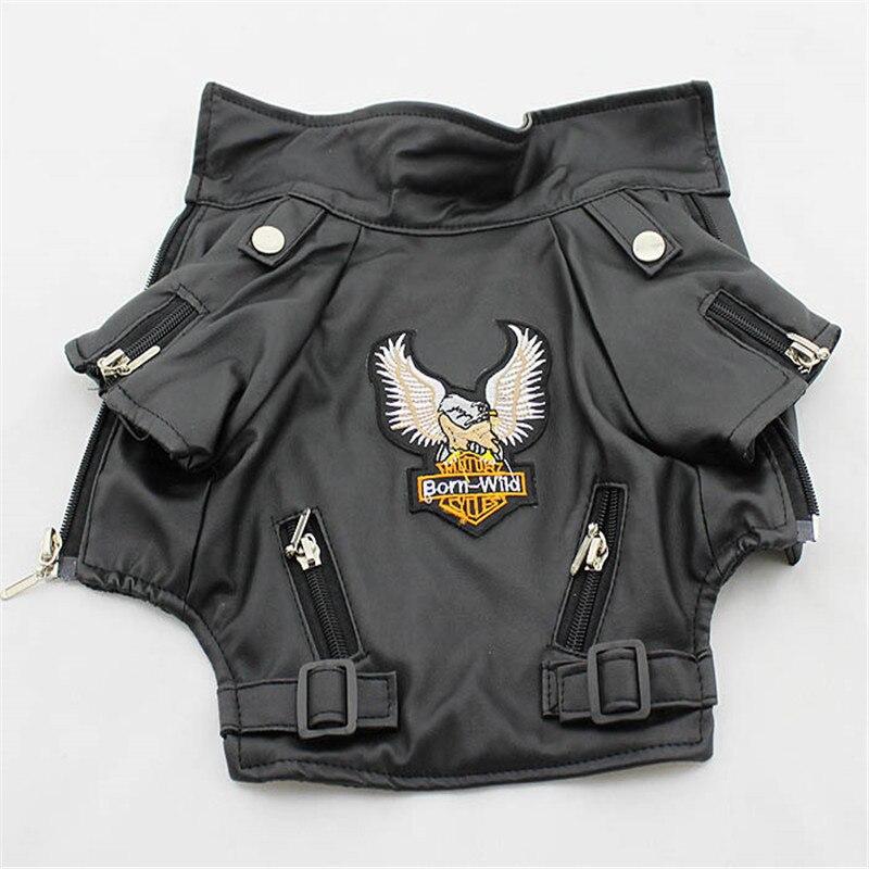 Glorious Eagle Pattern Dog Coat PU chaqueta de cuero suave impermeable al aire libre ropa para perrito ropa de moda para mascotas pequeñas (XXS-XXL)
