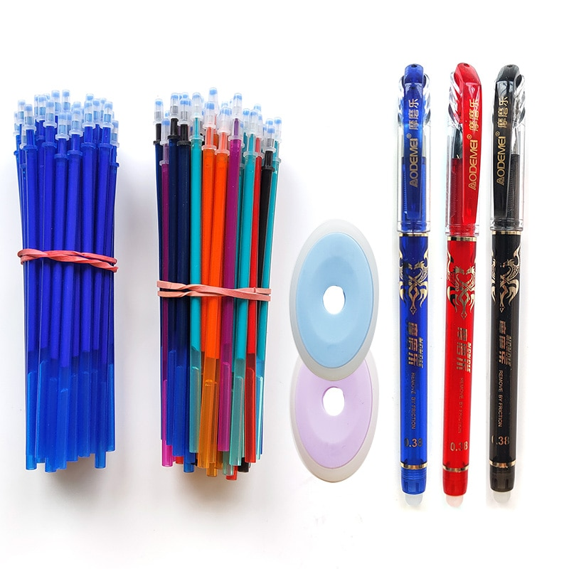 25Pcs/lot 7-colors Magic Erasable Pen Refills Rod 0.5mm Office Gel Pen Washable Handle Blue Black Ink Pen School Writing Supply