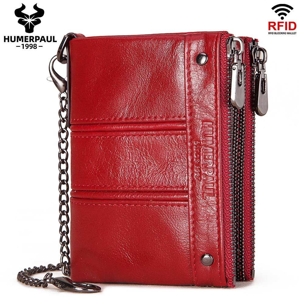 2020 Fashion Women's Wallet Luxury Brand Cow Leather Small Coin Purse Slim Wallets RFID Portomonee Lady Quality Money Bag