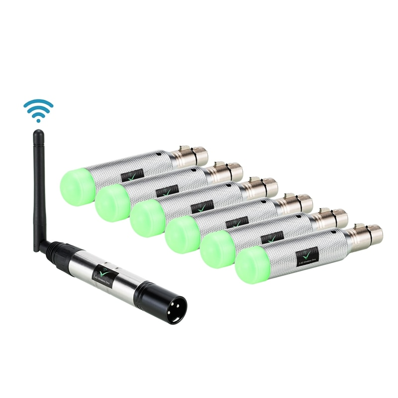 Promoción -- 7 Uds Dmx512 Dmx Dj 2,4G receptor inalámbrico 6 batería integrada y 1 transmisor Control de iluminación de escenario