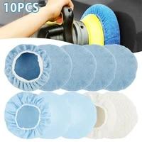 10pcs 9 10 inch car polishing pad auto microfiber bonnet polisher soft wool wax wash buffer cover cleaning tools accessories