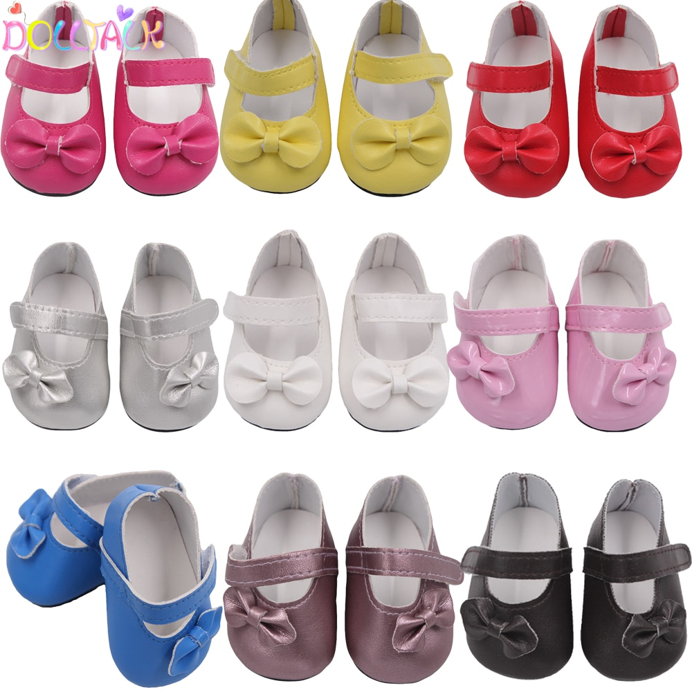 Hot Sale 7cm Bow-knot Doll Shoes For 18Inch American Dolls Pu Leather Velcro Shoes Fit 43cm New Baby
