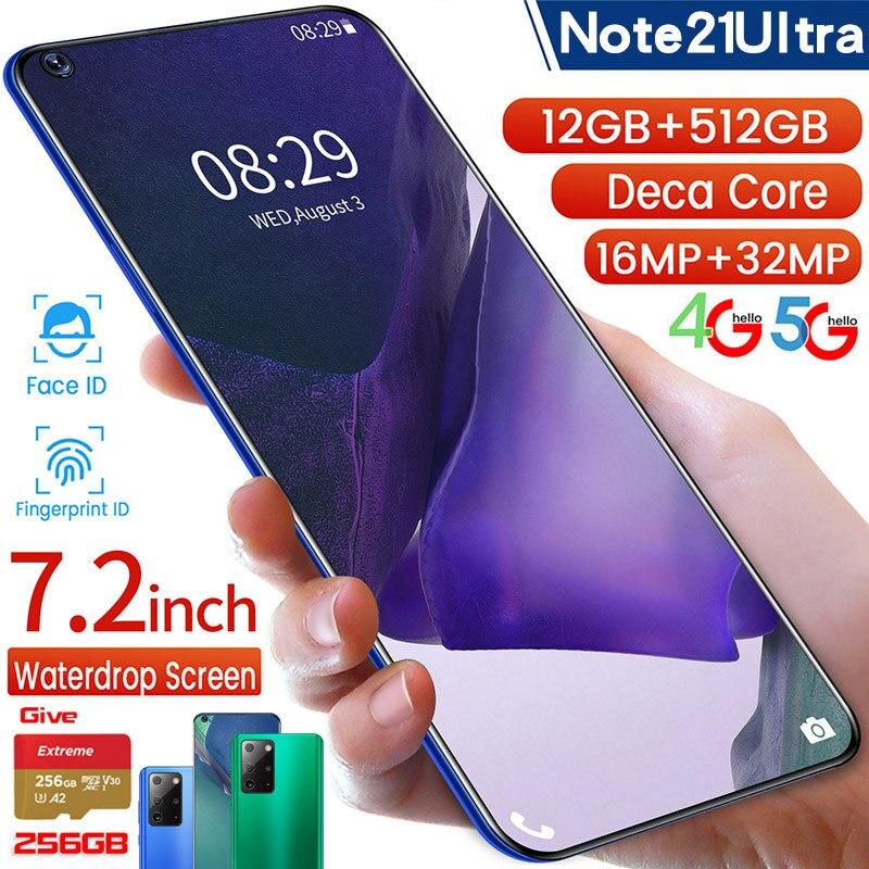 Samxung note21ultra 4g/5g versão global 7.2-inch + 256gb sd celular 12gb + 512gb telefone inteligente rosto desbloquear android 10.0