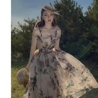 girl sexy dress 2021 summer elegant dresses new original vintage vestido women big flower collect waist