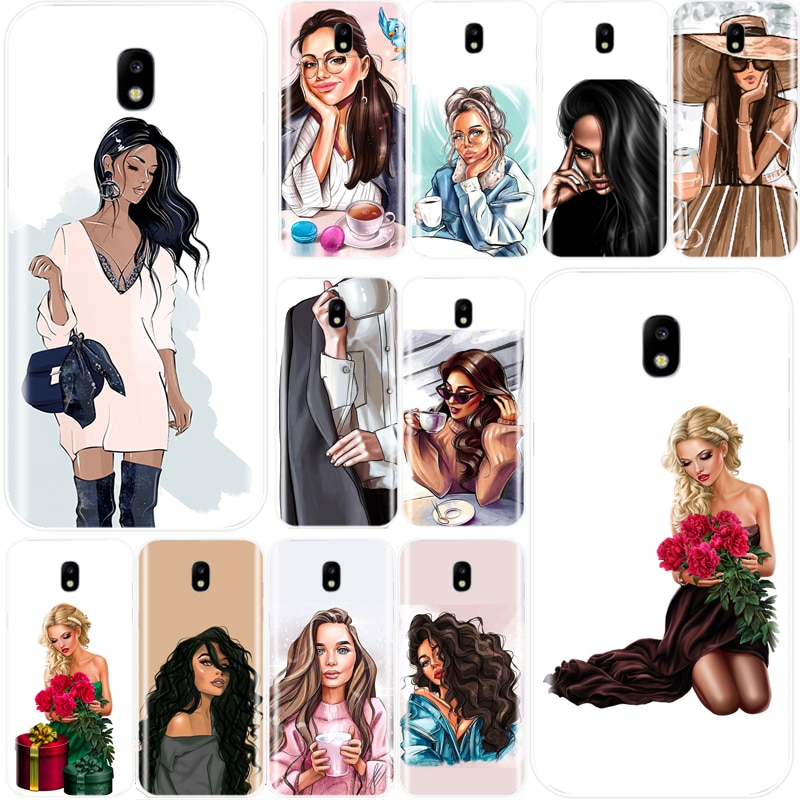 Diosa VOGUE arte princesa niñas jefe femenino café funda para teléfono Samsung Galaxy J3 J4 J6 J8 2018 J5 J7 2017 J5 J7 2016
