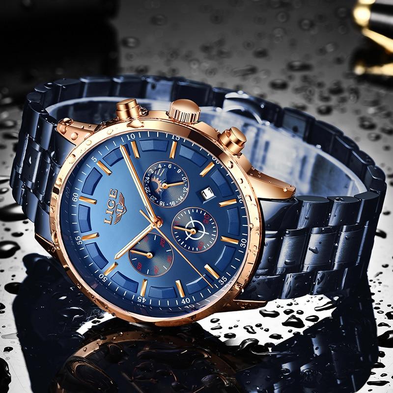 LIGE New Fashion Mens Watches Top Brand Luxury Stainless Steel Waterproof Sports Chronograph Quartz Watch Men Relogio Masculino