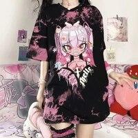 t shirt womens summer gothic punk harajuku cartoon lovely girl printing oversize pattern tie dye loose short sleeve top fashion