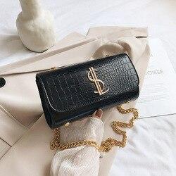 Bolsa de mão estampada de crocodilo feminina, bolsa de ombro pequena de luxo vintage, bolsa de mensageiro, 2020