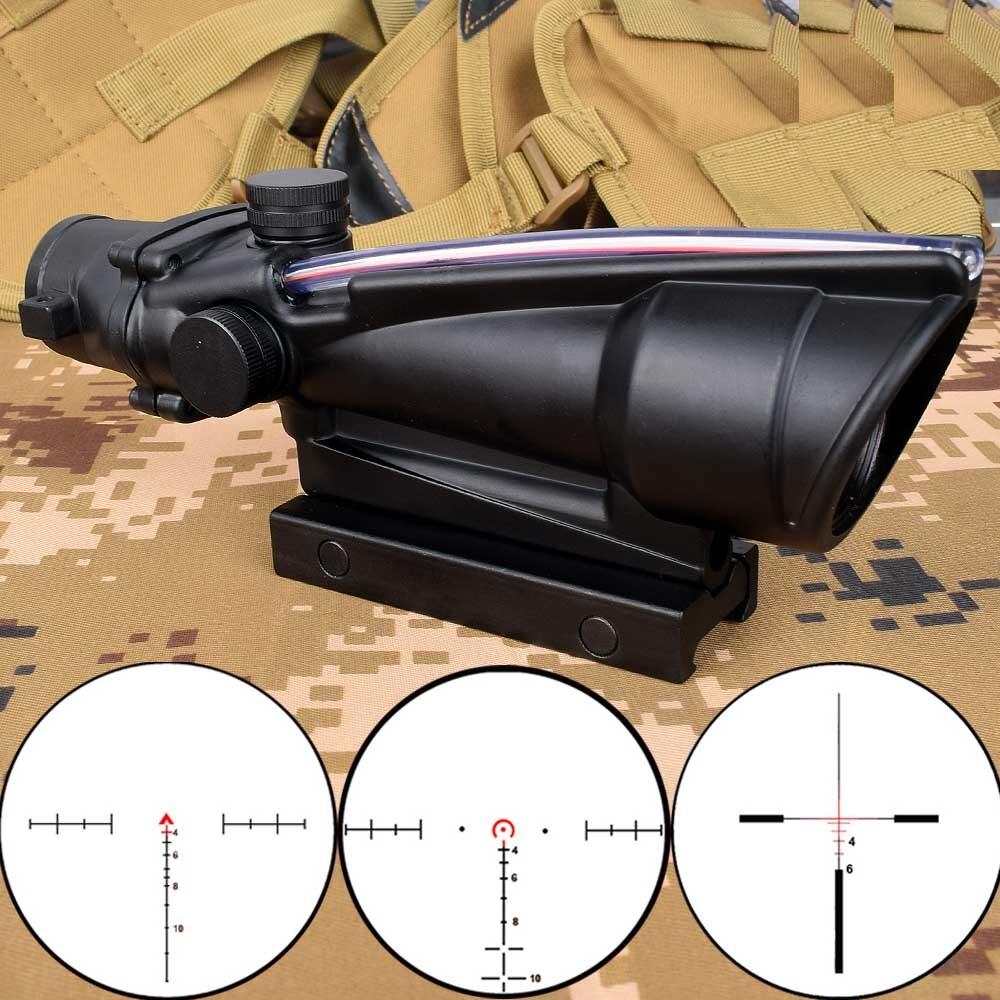 ACOG 5x35 caza Riflescope doble iluminado Chevron rojo verde Cruz fibra alcance retículas Rifle táctico vista óptica