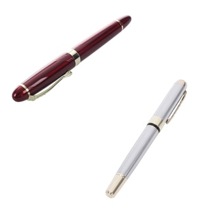 Jinhao 250 Frosted White Gold Fountain Pen M Nib Fountain Pen & JINHAO X450 18 KGP 0.7mm Broad Nib Fountain Pen Red