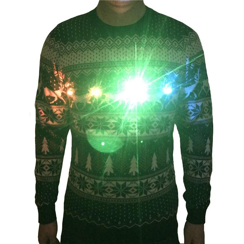 Забавный Вязаный рождественский свитер с оленями светильник ящийся Уродливый Рождественский свитер для мужчин и женщин, смешные мужские с...